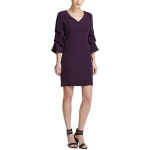 DKNY Purple Sheath Dress Ruched Sleeves V-Neck